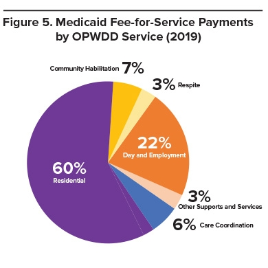 A pie graph of the breakdown of medicaid fee-for-service payments